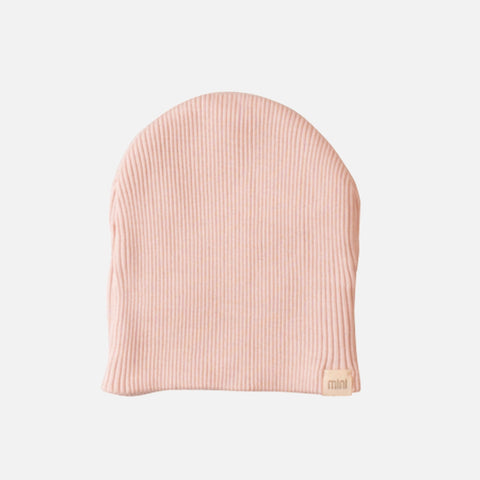 Silk/Cotton Rib Baby Beanie - Sweet Rose - 0-6m