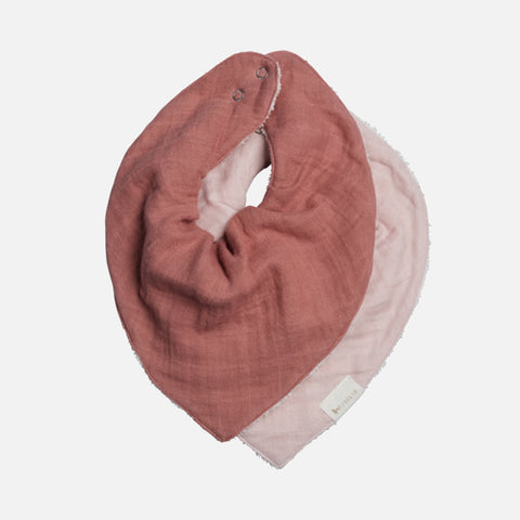 Organic Cotton Muslin And Terry Bandana Bib Set - Berry