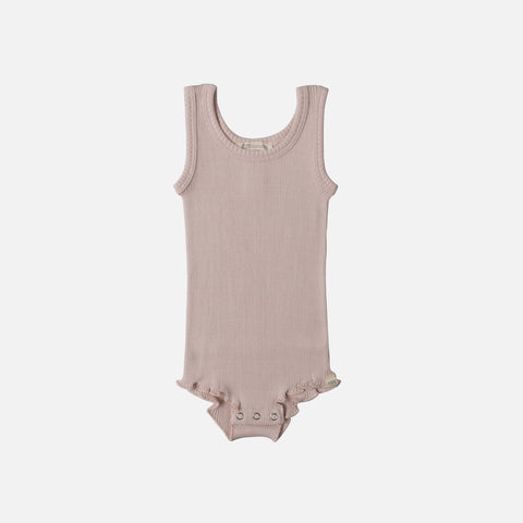 Silk/Cotton Barcelona Tank Body with Frill - Sweet Rose - 1-3y