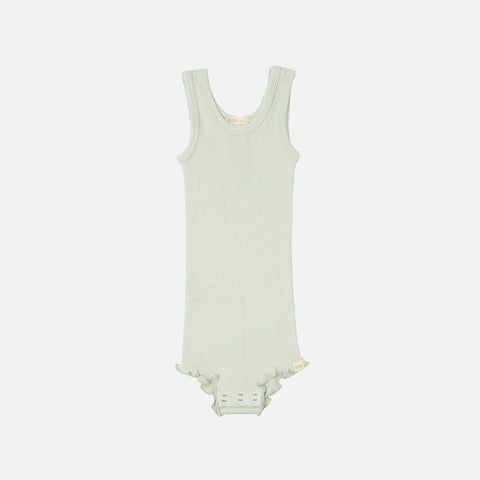 Silk/Cotton Tank Body with Frill - Aqua - 1-3y