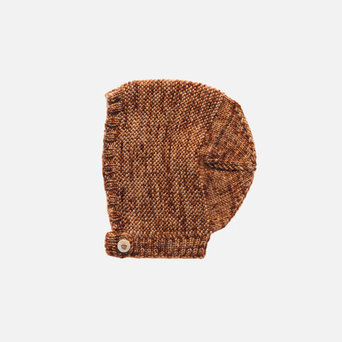 Hand Knit Merino Wool Beach Walk Bonnet - Nutmeg - 0m-6y