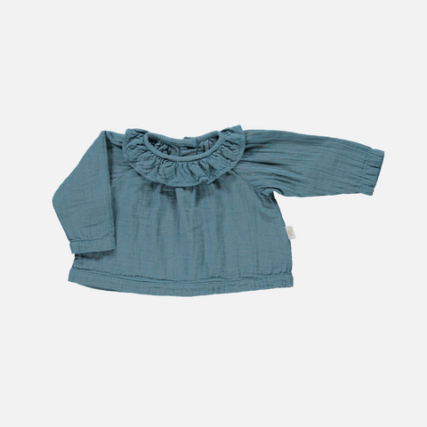 Organic Cotton Round Collar Blouse - Hydro - 10y