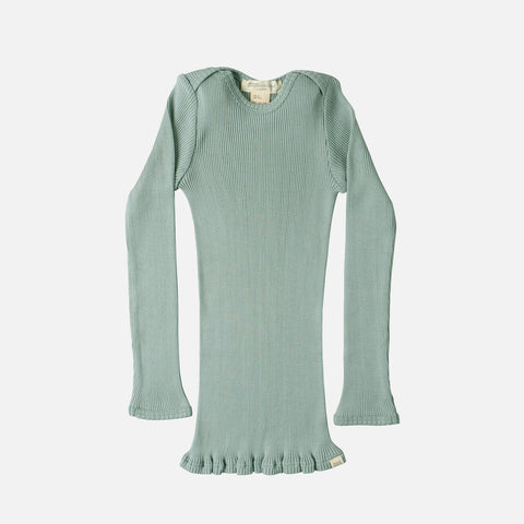 Silk/Cotton LS Rib Top - Pale Jade - 6m-6y
