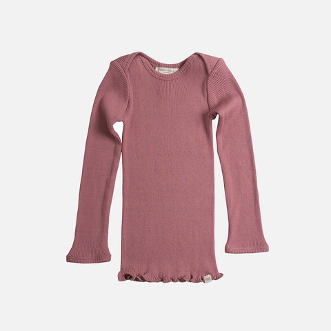 Silk/Cotton LS Envelope Neck Rib Top - Cozy Rose - 1-6y