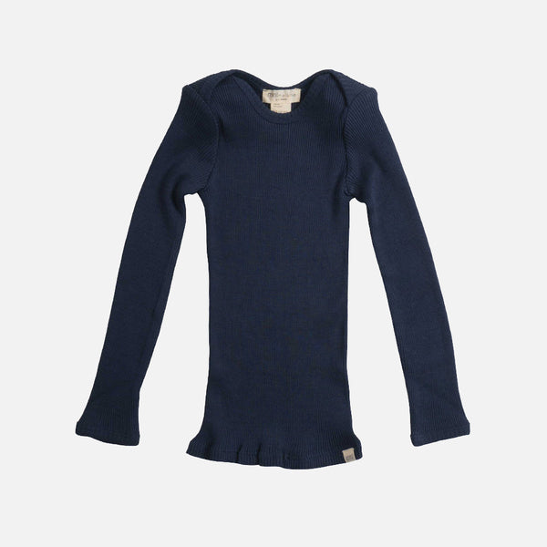 Silk/Cotton LS Rib Top - Dark Blue - 6m-6y