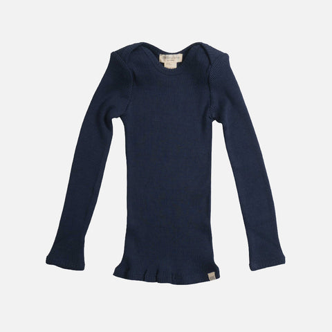 Silk/Cotton LS Envelope Neck Rib Top - Dark Blue - 6m-6y