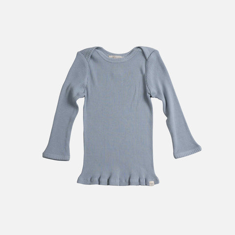 Silk/Cotton LS Rib Top - Fog Blue - 6m-6y