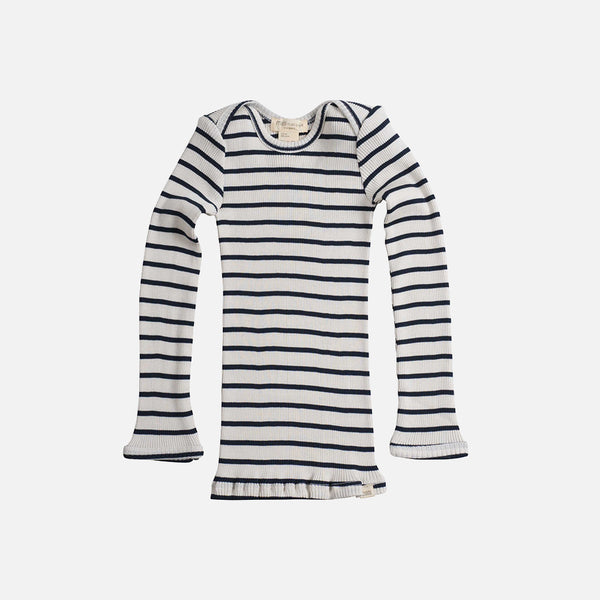Silk/Cotton LS Rib Top - Navy Stripe - 6m-6y