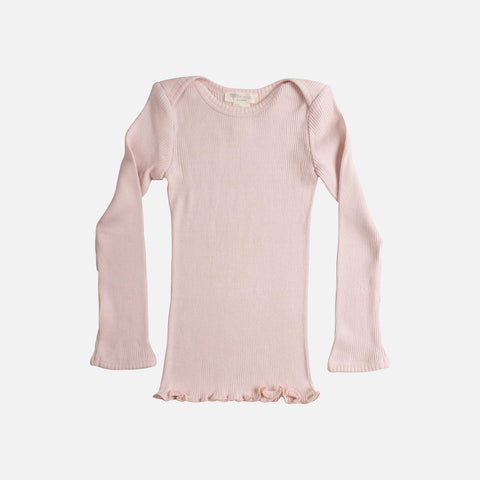 Silk/Cotton LS Envelope Neck Rib Top - Sweet Rose - 6m-2y