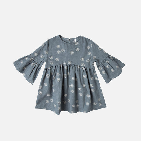 Cotton Sand Dollar Bell Dress - Stormy Blue - 2-9y