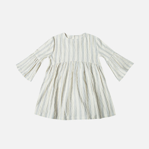 Cotton Bell Dress Stripe - Ivory/Stormy Blue - 2-9y