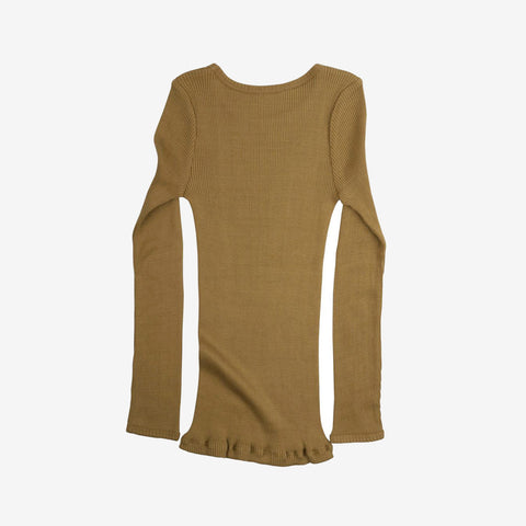 Silk/Cotton Bergen LS Rib Top - Golden Leaf - 2y-10y