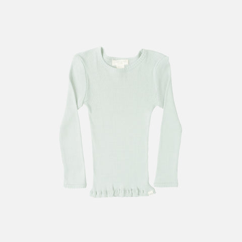 Silk/Cotton Bergen LS Rib Top - Aqua