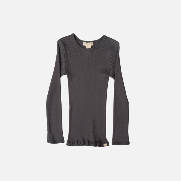 Silk/Cotton Bergen LS Rib Top - Dark Grey - 2-10y