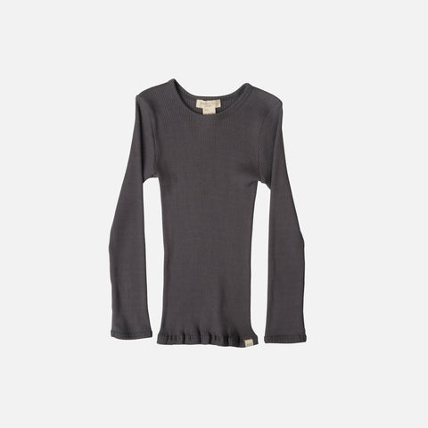 Silk/Cotton Bergen LS Rib Top - Dark Grey