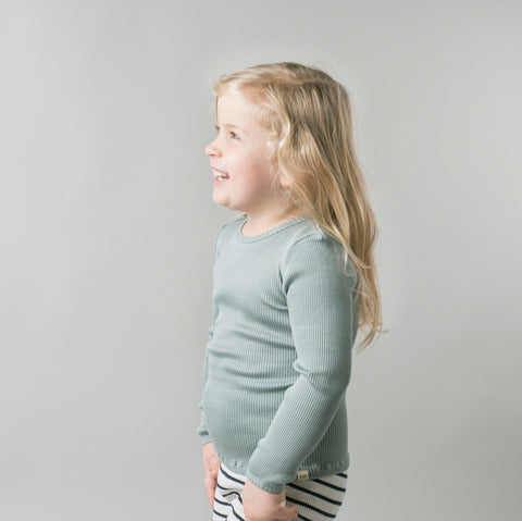 Silk/Cotton Bergen LS Rib Top - Pale Jade - 2-10y