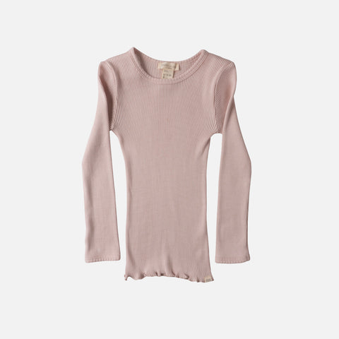 Silk/Cotton Bergen LS Rib Top - Sweet Rose - 2-10y