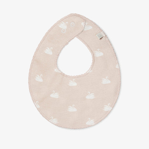Organic Cotton Dribble Bib - Swan