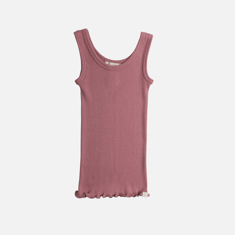 Silk/Cotton Billund Rib Tank Top - Cozy Rose - 2-4y