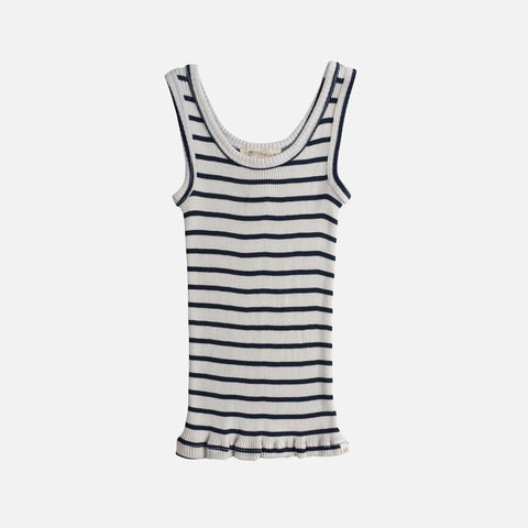 Silk/Cotton Rib Tank Top - Navy Stripe - 2-6y