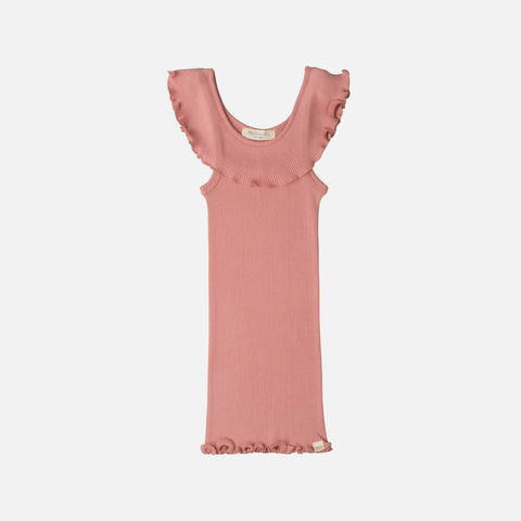 71158df0a0f Sold out Silk Cotton Rib Frill Collar Top - Coral Blush - 2-10y ...
