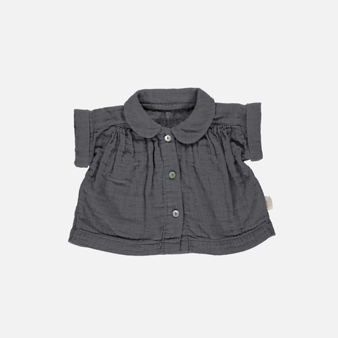 Organic Cotton Short Sleeves Blouse - Iron Gate - 6m-6y