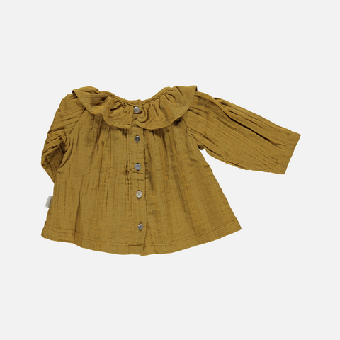 Organic Cotton Round Collar Blouse - Cassonade - 1m-4y