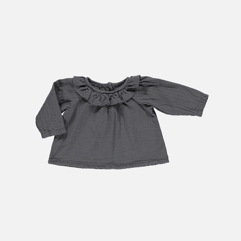 Organic Round Collar Blouse - Iron Gate - 1m-8y
