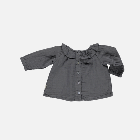 Organic Round Collar Blouse - Iron Gate - 3-6y