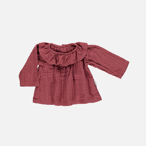 Organic Round Collar Blouse - Brique - 3-8 years