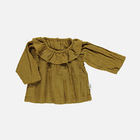 Organic Round Collar Blouse - Cassonade - 3-8 years