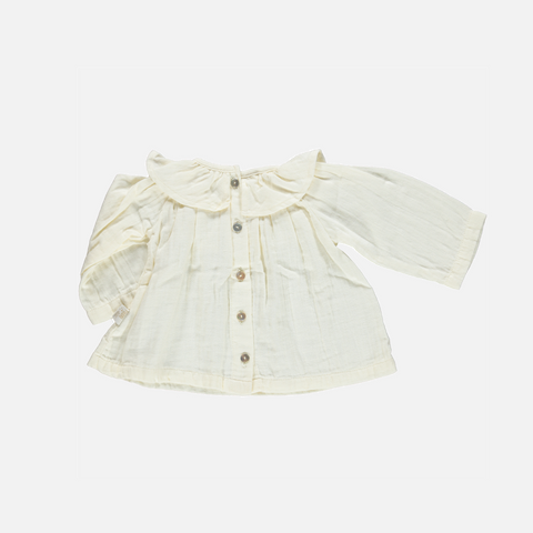 Organic Cotton Round Collar Blouse - Lait - 6m & 3-6y