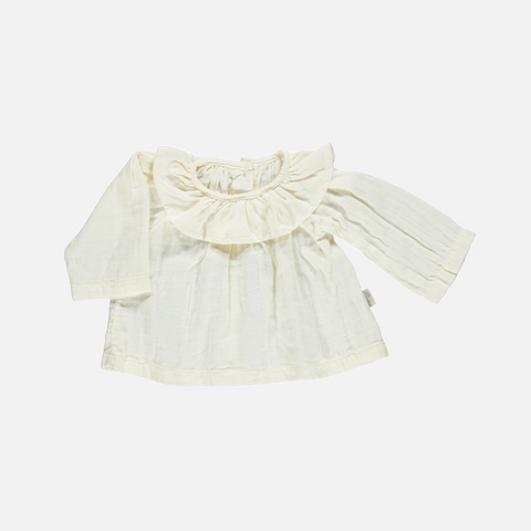 Organic Cotton Round Collar Blouse - Lait - 6m-8y