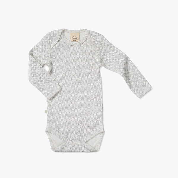 Organic Cotton Baby Body - Grey Wave - 3-24m