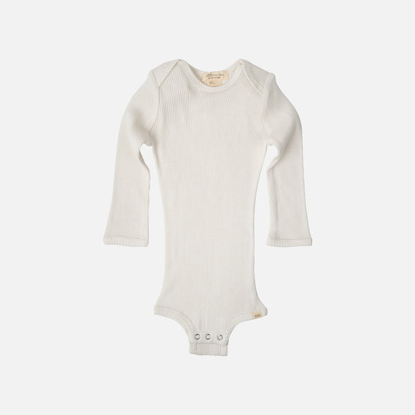 Silk/Cotton Bono LS Rib Body - Cream - 1m-3y