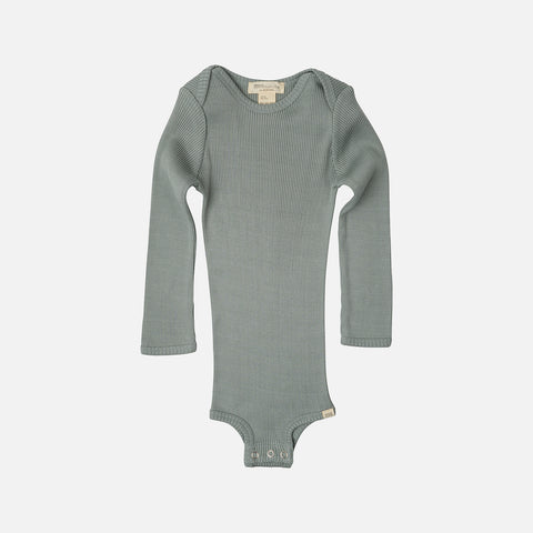 Silk/Cotton Bono LS Rib Body - Pale Jade - 1m-3y