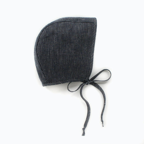 Cotton/Hemp Bonnet - Navy Stripe - 0m-4y