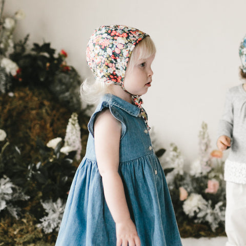 Cotton Liberty Bonnet - Wild Poppy - 0m-4y