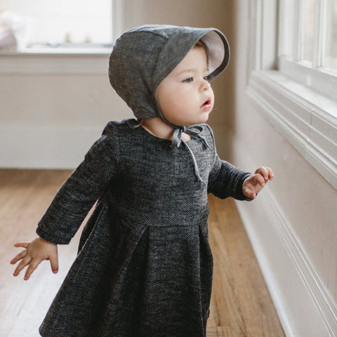Cotton/Hemp Brimmed Bonnet - Chambray - 0m-4y