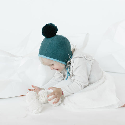 Wool/Cotton Pom Bonnet - Teal - 0m-4y