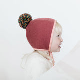 Wool/Cotton Pom Bonnet - Pink/Confetti - 0m-4y