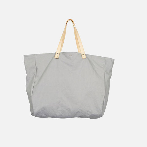 Cabas Organic Cotton and Leather Tote - Plume - XL