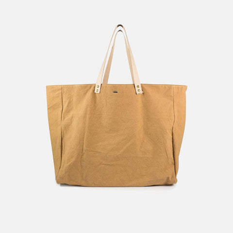 Cabas Organic Cotton and Leather Tote - Natural - XL