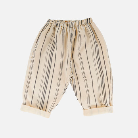 Linen Caspar Trousers - Cream Stripe