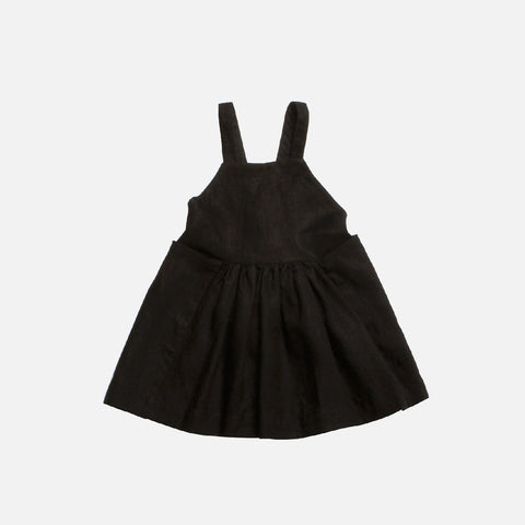 Washed Linen Cleo Pinafore - Black - 18m-7y