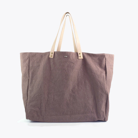 Cabas Organic Cotton and Leather Tote - Ecorce - XL