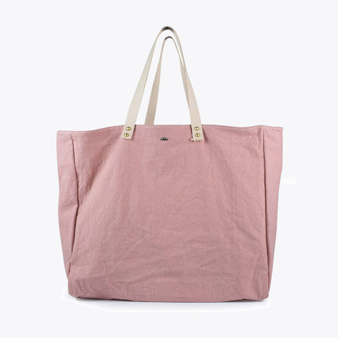 Cabas Organic Cotton and Leather Tote - Guimauve - XL