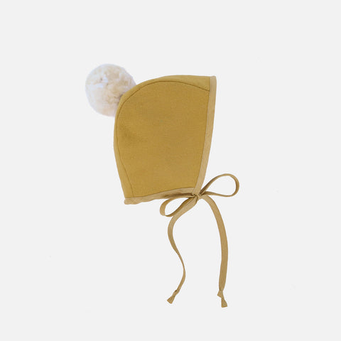 Wool Pom Pom Bonnet - Canary - 0m-4y