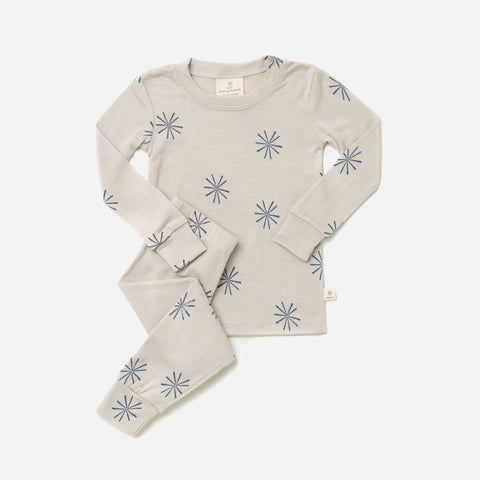 Merino Top & Bottoms Set - Arctic Blue Windmill - 2-10y