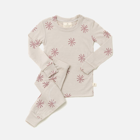Merino Top & Bottoms Set - Rose Windmill - 2-10y